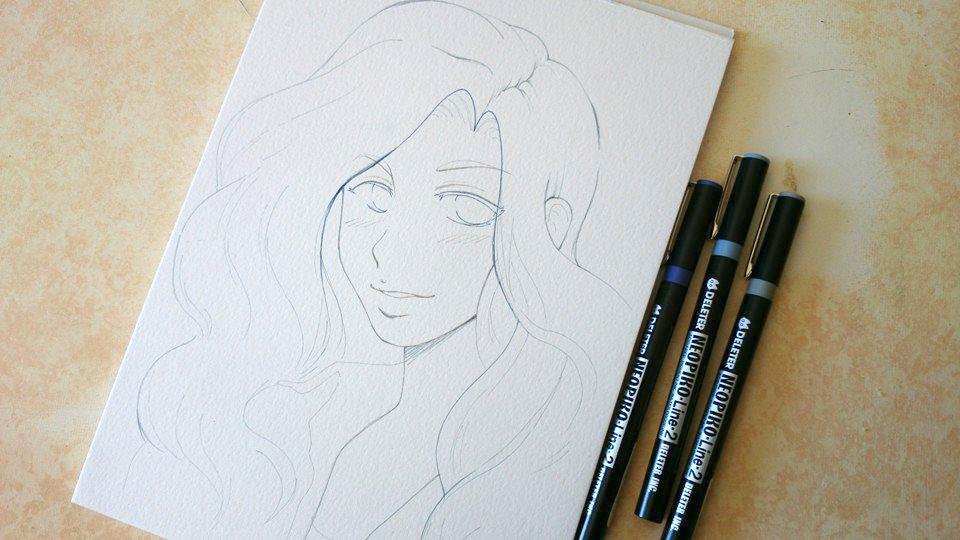 Démo #1 : Aquarelle sur papier Montval kuru dessin manga aquarelle 1