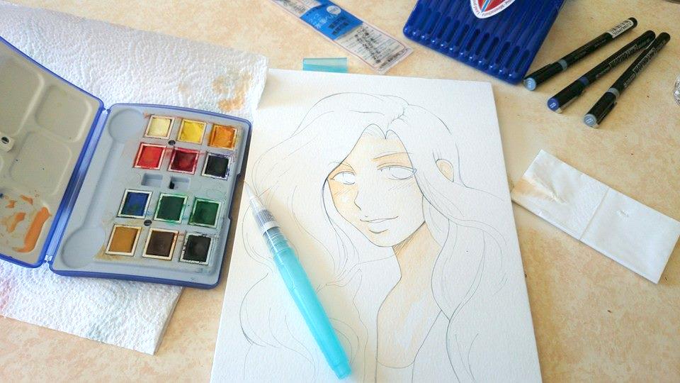 Démo #1 : Aquarelle sur papier Montval kuru dessin manga aquarelle 4