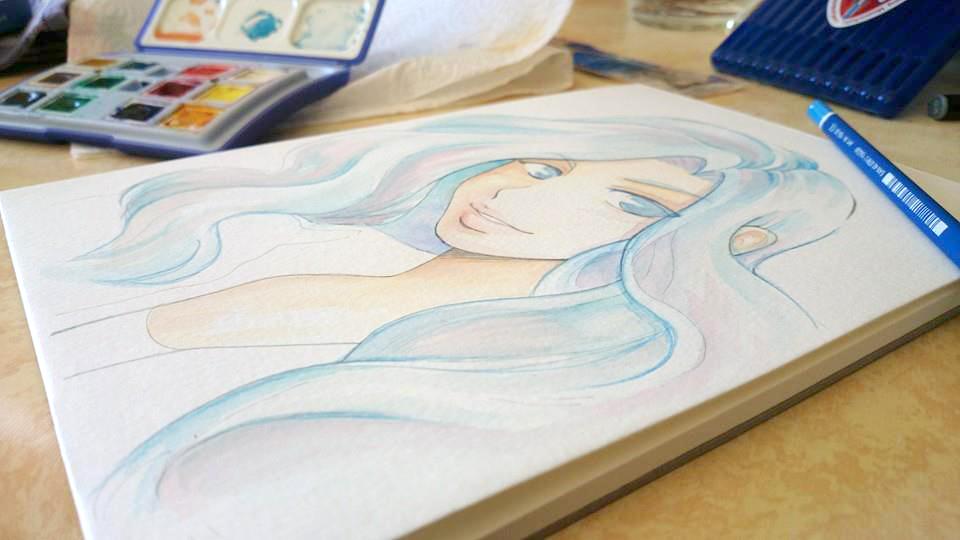 Démo #1 : Aquarelle sur papier Montval kuru dessin manga aquarelle 7