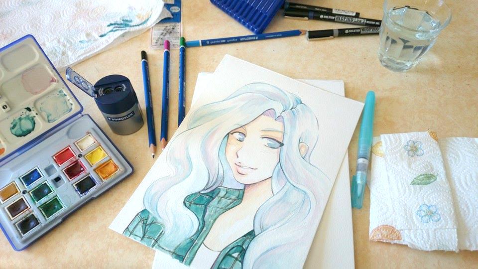 Démo #1 : Aquarelle sur papier Montval kuru dessin manga aquarelle 9
