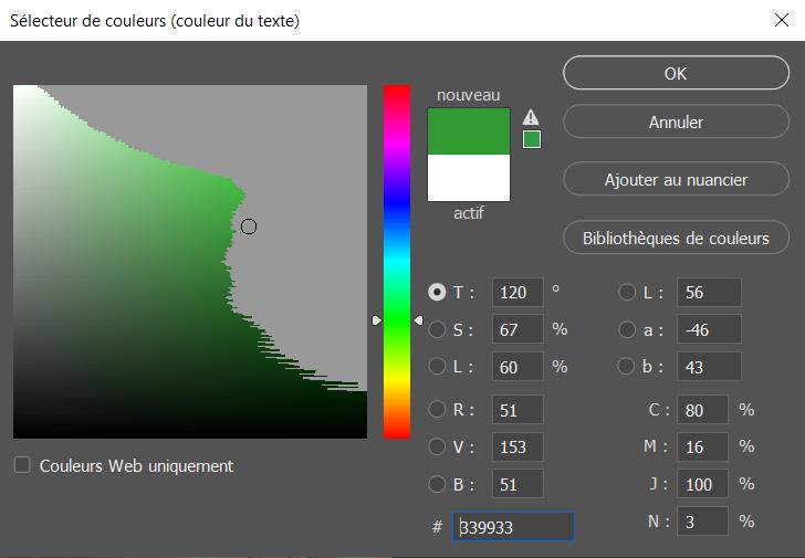 exemples des couleurs non imprimables sur photoshop, affichées avec le raccourci Maj+Ctrl+Y