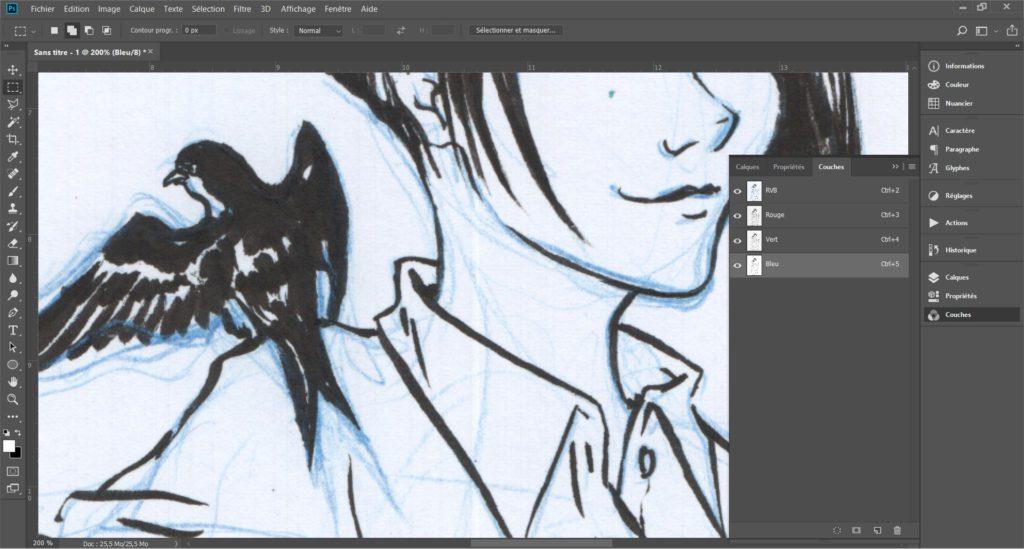 """Faire disparaître des crayonnés bleu sur une page de manga grâce à l'outil """"couches"""" de Photoshop - Première étape"""