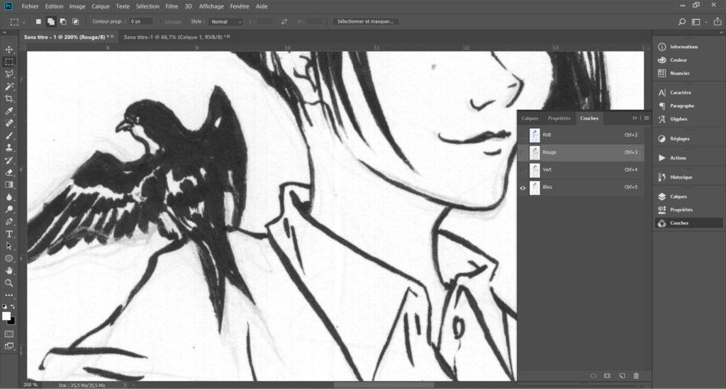 """Faire disparaître des crayonnés bleu sur une page de manga grâce à l'outil """"couches"""" de Photoshop. - Deuxième étape"""