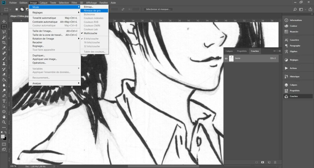 """Faire disparaître des crayonnés bleu sur une page de manga grâce à l'outil """"couches"""" de Photoshop. - Troisième étape"""