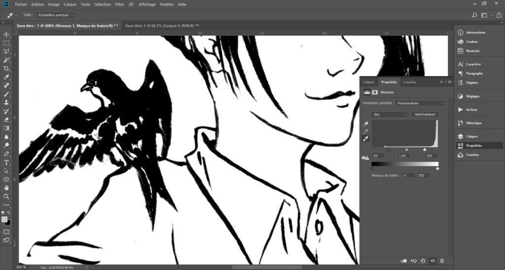 """Faire disparaître des crayonnés bleu sur une page de manga grâce à l'outil """"couches"""" de Photoshop. - Quatrième étape"""