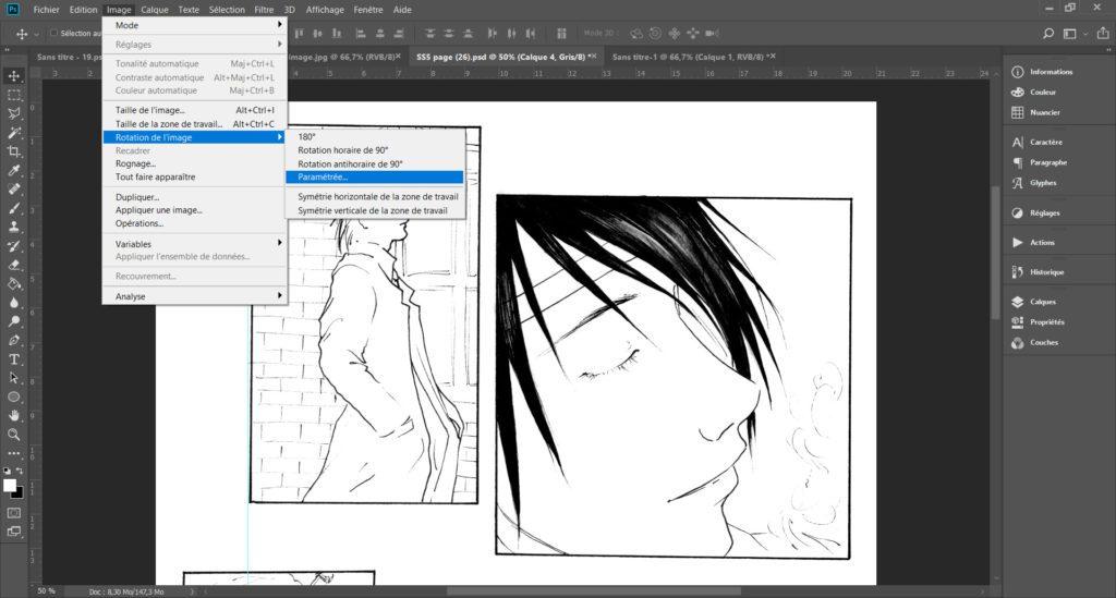 Le menu à utiliser pour utiliser la rotation de votre page de manga
