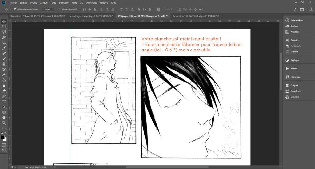 La rotation paramétrée permet de retoucher une page de manga de travers.
