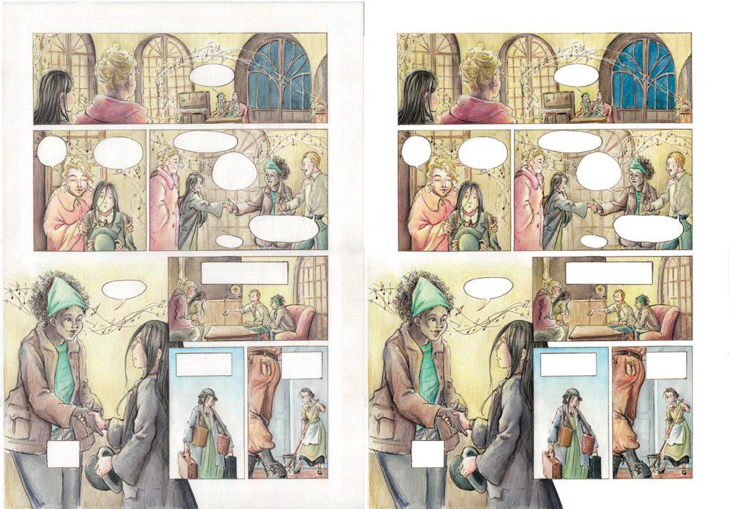 Comparatif avant/après d'une planche de BD couleur retouchée pour l'impression