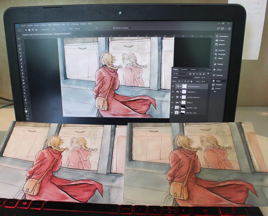 Comparaison entre image à l'écran et deux impressions aux couleurs différentes.