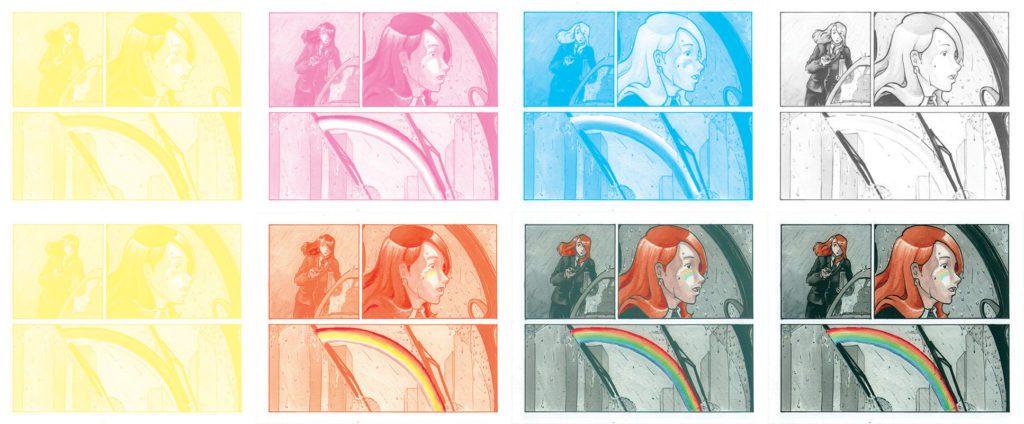 Décomposition d'une image en CMJN pour montrer les différentes couches de couleur