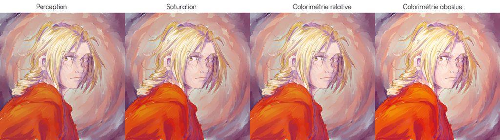 Comparaison des différents modes de convertion sur un dessin digital.