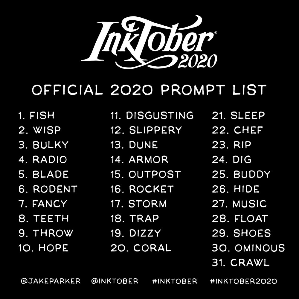 inktober list 2020