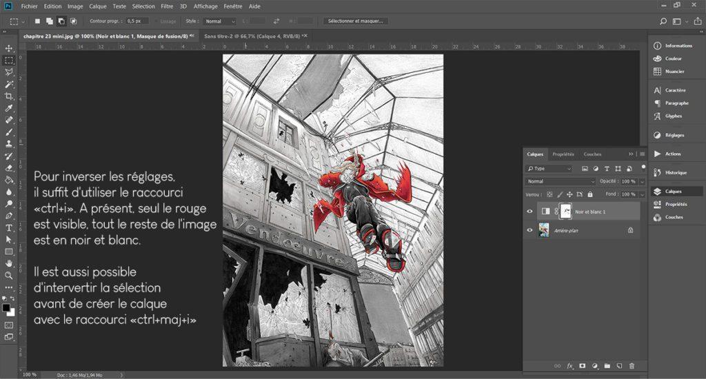 """Appliquer un réglage """"noir et blanc"""" sur une partie d'une image couleur avec Photoshop"""