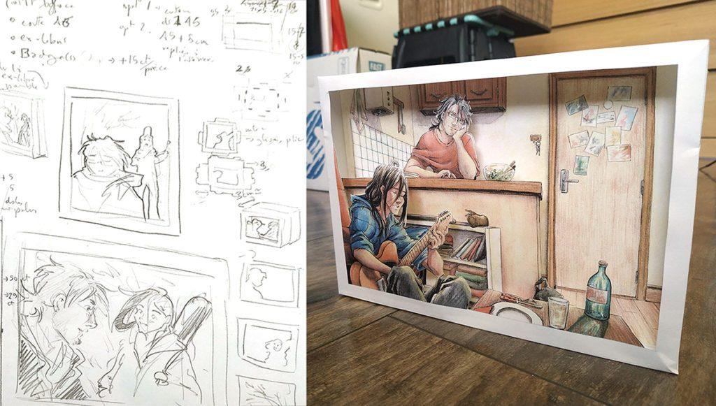 réalisation d'un diorama en papier découpé, du croquis d'idée au prototype