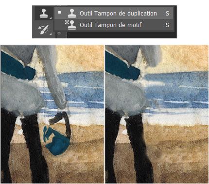 """Exemple d'utilisation de l'outil """"tampon"""" sur Photoshop."""