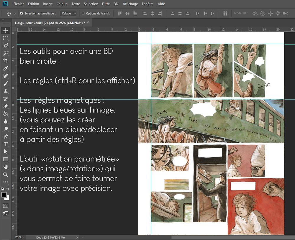 Utiliser les règles et la rotation paramétrée sur Photoshop pour avoir une page de BD bien droite