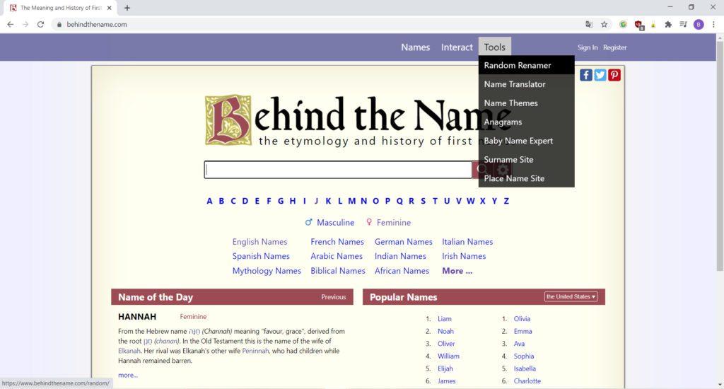 Behind the Name, un site qui met l'accent sur l'étymologie des prénoms et leurs variations dans le monde et au cours du temps.