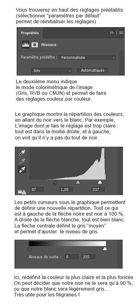 explications détaillées du réglage des niveaux sur photoshop