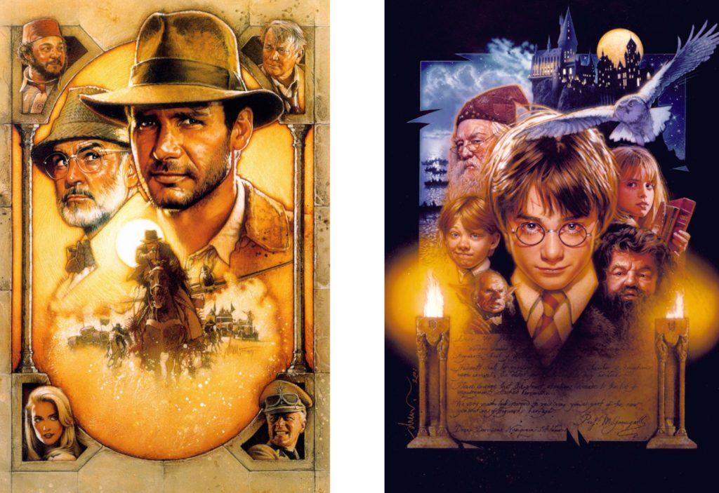 Composition géométrique : Drew Struzan poster d'Indiana Jones et d'Harry Potter