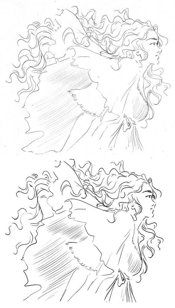 Test de dessin avec le Scribo PW310 de chez Huion : comparaison entre version papier et version digitale