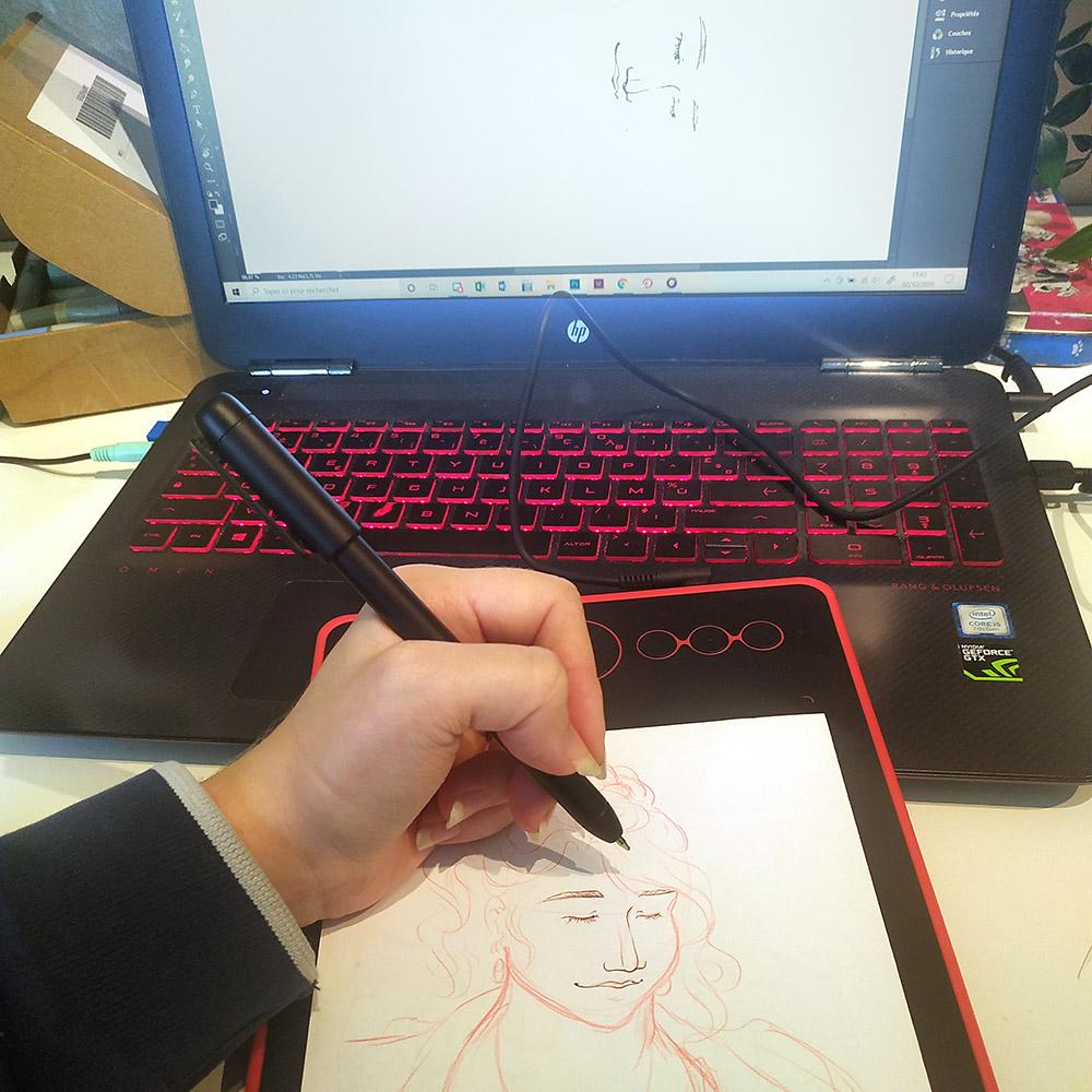 test de dessin avec le Scribo PW310 et de la tablette graphique H320M de chez Huion.