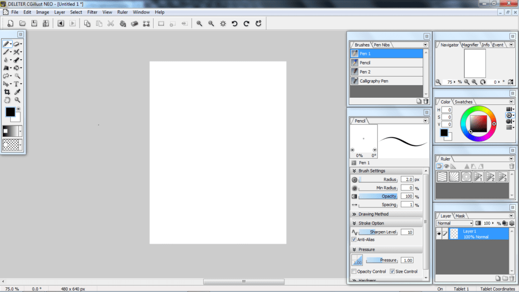 interface logiciel dessin Deleter CGIllust Neo