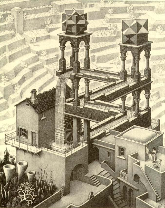 Exemple d'un perspective impossible par M. C. Escher.