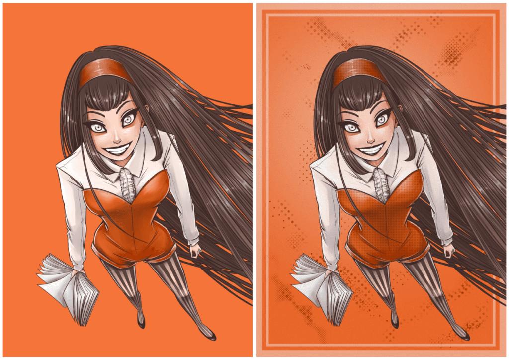 Illustration numérique d'Ayn : sans texture et avec
