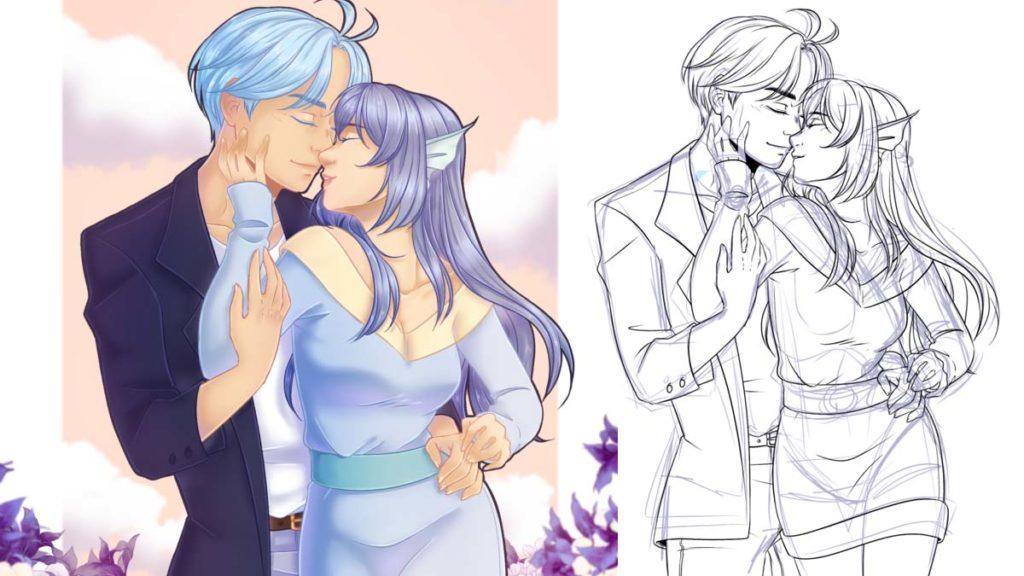 """Démo #8: Illustration numérique """"Golden Couple"""" ban mk 1200 675 demo buttea"""
