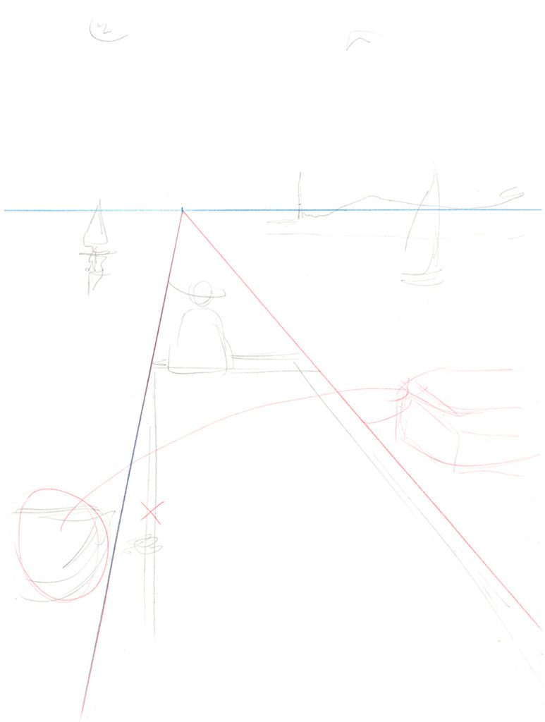 dessiner en perspective à un point de fuite - placer les éléments