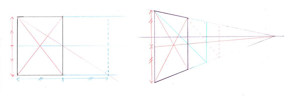 Reporter des distances en perspective avec les diagonales d'un rectangle
