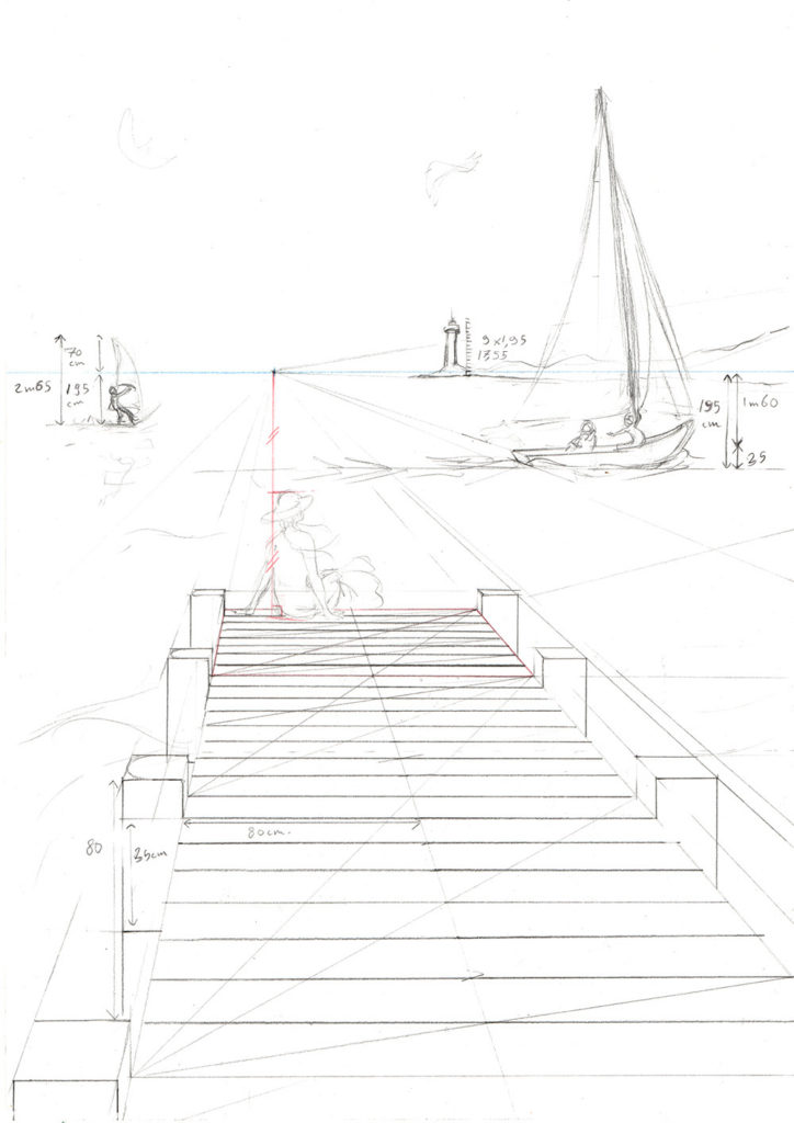 un dessin en perspective à 1 point de fuite pas à pas : reporter les distances