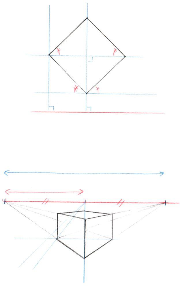 Exemple simple de perspective à deux points de fuite (en haut, le plan au sol, en bas, la version en perspective. La flèche bleue correspond à un angle de 90°, et la rouge à un angle de 45°.