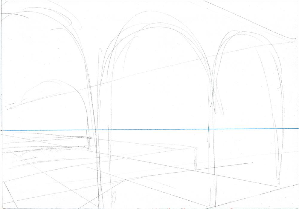 Faire une illustration en perspective à  2 points de fuite, étape par étape : le croquis