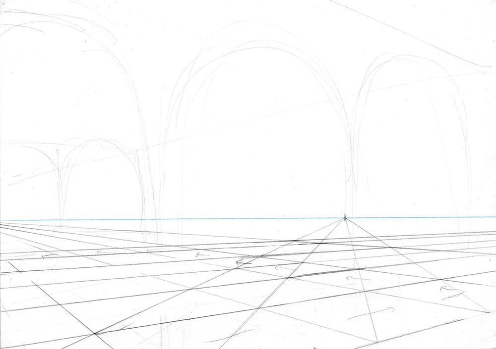 Faire une illustration en perspective à  2 points de fuite, étape par étape : tracer une grille au sol