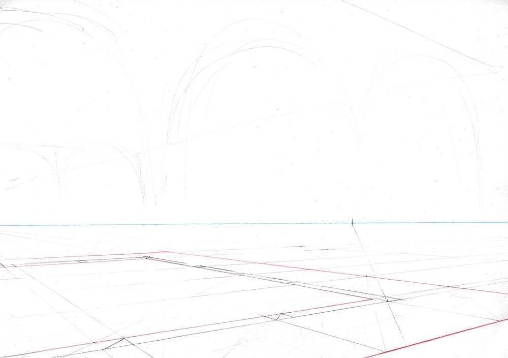 Faire une illustration en perspective à  2 points de fuite, étape par étape : sélectionner les lignes importantes