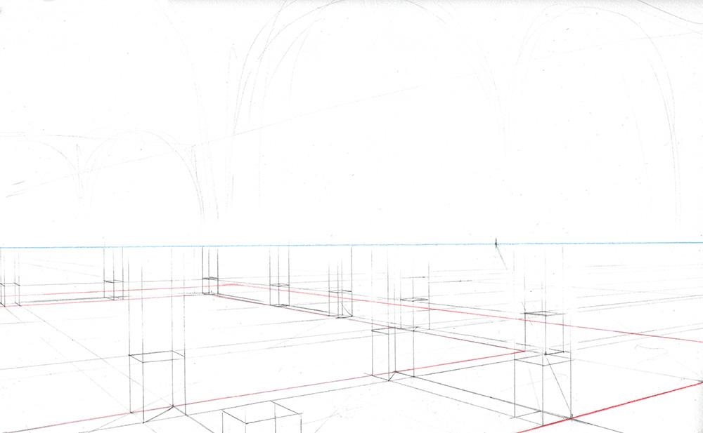 Faire une illustration en perspective à  2 points de fuite, étape par étape : tracer les lignes verticales
