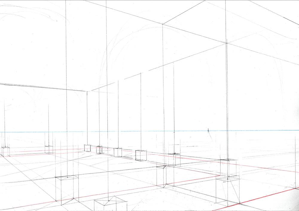 Faire une illustration en perspective à  2 points de fuite, étape par étape : tracer les lignes verticales et les horizontales en hauteur