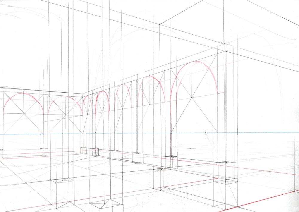 Faire une illustration en perspective à  2 points de fuite, étape par étape : tracer les arches avec des diagonales.