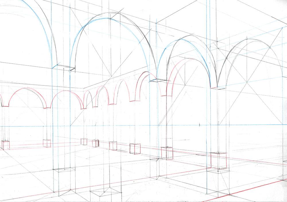 Faire une illustration en perspective à  2 points de fuite, étape par étape : tracer des arches en séparant les plans.