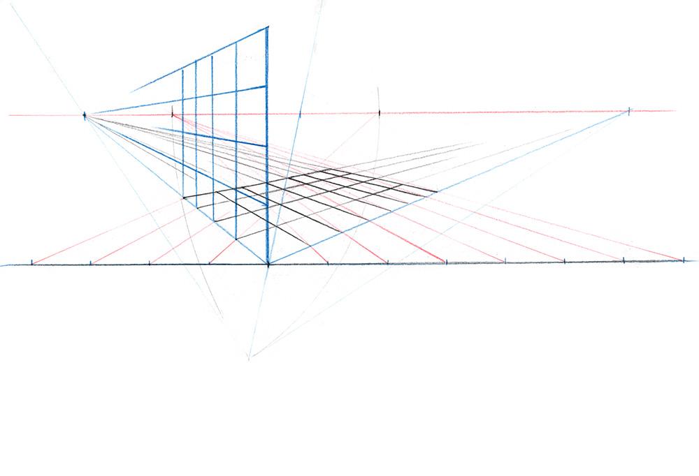 Exemple de construction d'un grille en trois dimensions dans une perspective à deux points de fuite.