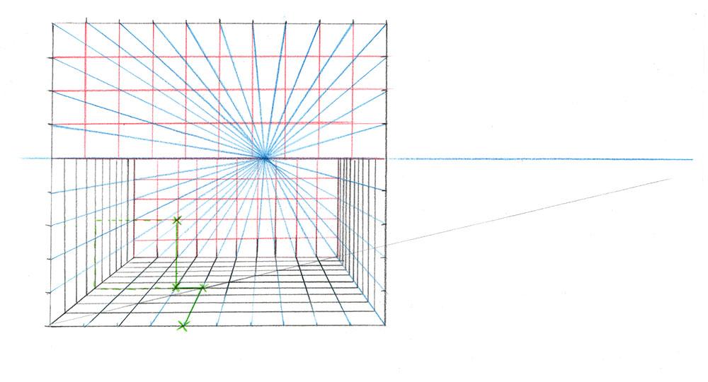 Exemple de grille en trois dimensions dans une perspective à 1 point de fuite