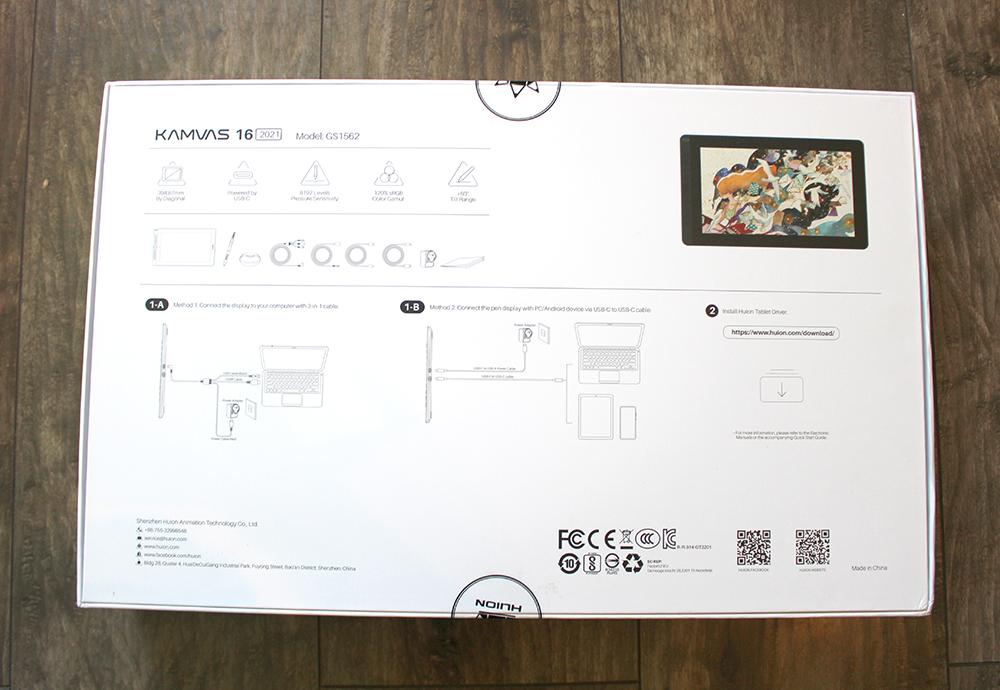 Packaging de la tablette graphique à écran Kamvas 16 (2021)