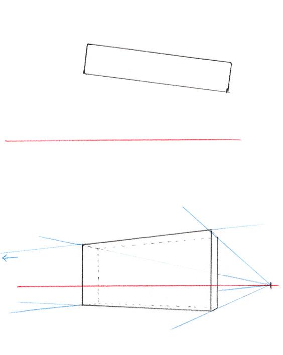 Exemple simple de perspective à deux points de fuite