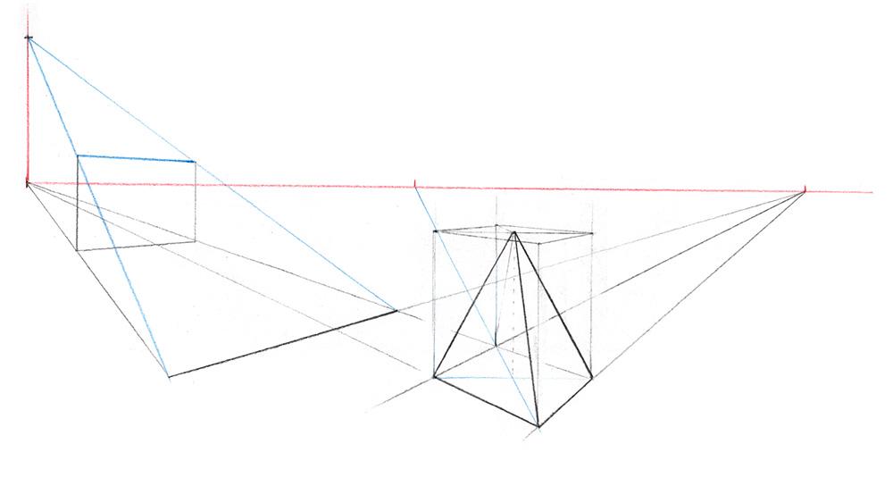 tracer des plans inclinés et des pyramides dans une perspective à 2 points de fuite