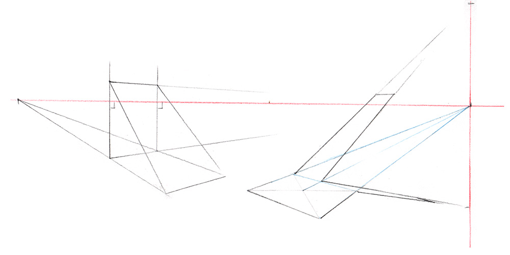 tracer des plans inclinés dans une perspective à 2 points de fuite : deux méthodes de construction