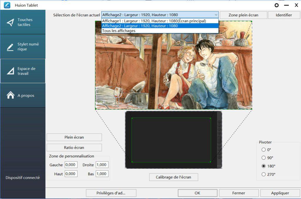 paramétrage de la Kamvas 16 (2021) en mode gaucher sur le logiciel Huion.