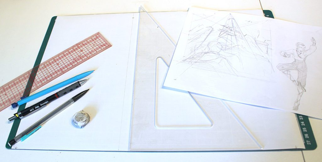 équipement pour faire une illustration en perspective à 3 points de fuite sur papier.