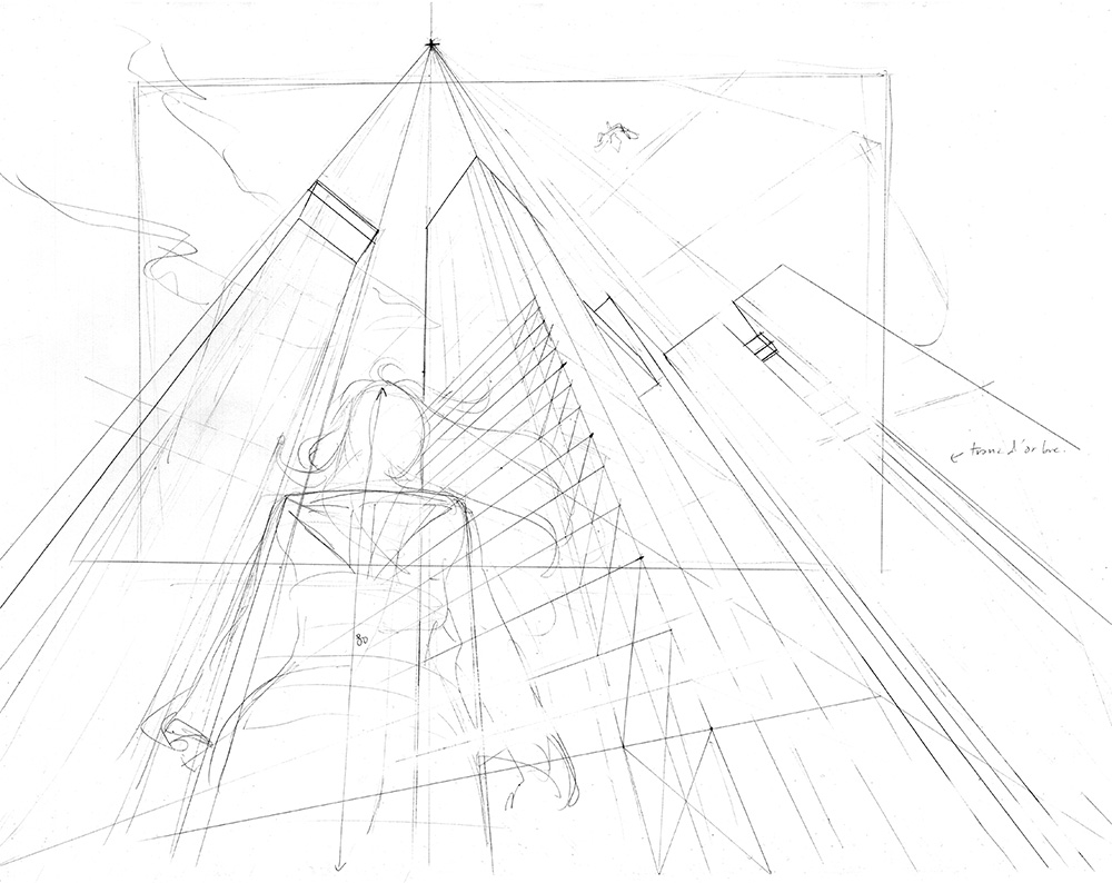 Exemple de dessin en perspective à 3 points de fuite : la structure générale les volumes