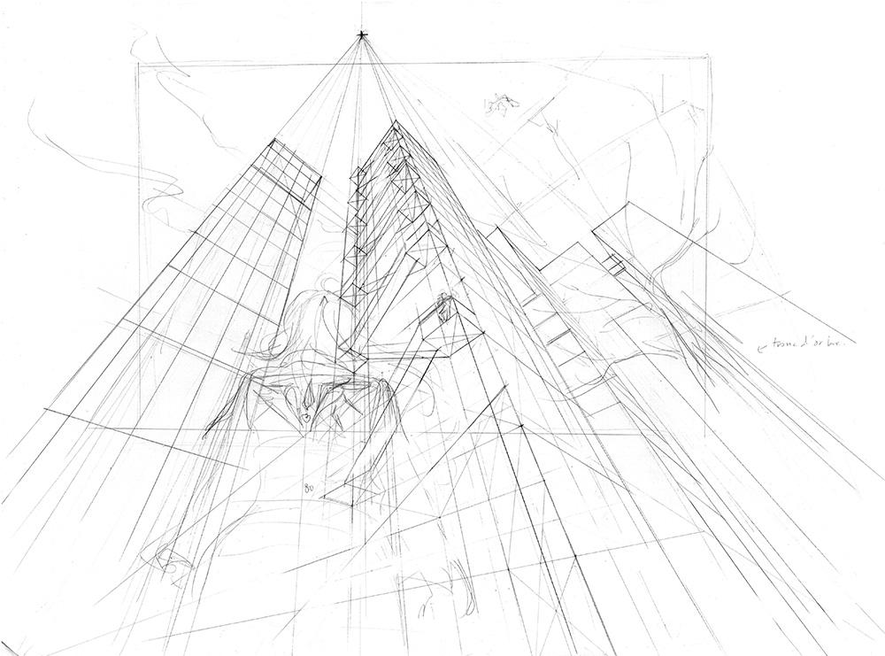 Exemple de dessin en perspective à 3 points de fuite : détailler le bâtiment